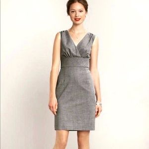 Banana Republic Gray V Neck Wool Sheath Dress